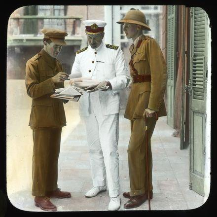 Lawrence (left), Lt. Col. Dawnay, D.G. Hogarth Cairo, May 1918.